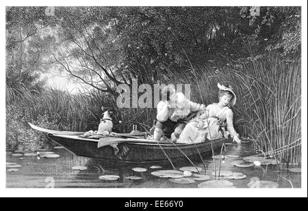 Punt lily pond romantic romance couple man wife husband pet dog date dating courting Woman grace graceful beauty - Stock Photo