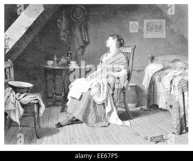 Weary E Radford tired worn out sleepy had enough fedup depressed depression period costume dress room bedroom chamber - Stock Photo