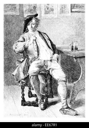 The Smoker Jean-Louis Ernest Meissonier period costume clothes smoking smoke pipe tanked pint pub public house - Stock Photo