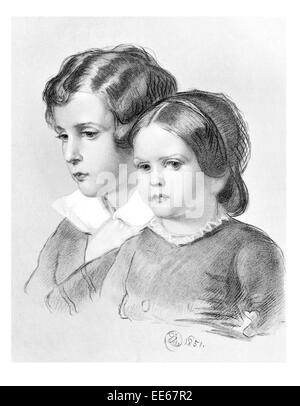 Lad and Lassie Sir Edwin Henry Landseer 1851 portrait young boy girl child children period costume dress Sunday - Stock Photo