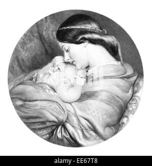 The Young Mother Charles West Cope Woman Female grace graceful beauty female Lady girl baby child infant sleeping - Stock Photo