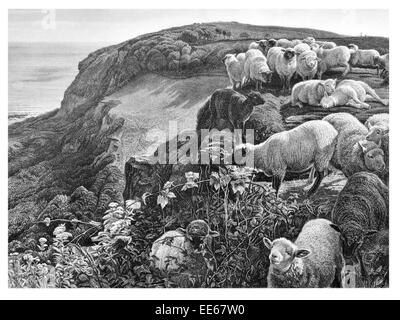 On the Hill Side William Holman Hunt 1852 flock sheep wool Coast landscape landscapes outdoor outdoors scenery scene - Stock Photo