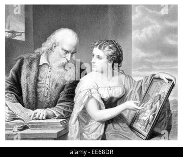 Philosophy and Art Daniel Huntington artist academic reading book beard old man wife young woman period costume - Stock Photo
