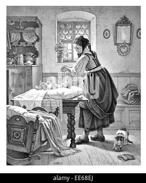 The Toilette A Ludwig changing baby babies nappy mother child infant new born period costume dress home kitchen - Stock Photo