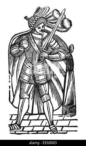 Robbin Hood Balled archer wild man Goliath folklore legend  medieval merry men knight Nottingham hero 13th 14th - Stock Photo