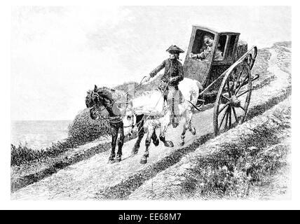 The Postillion postilion Jean-Richard Goubie post boy horse drawn coach carriage chaise driver rider whip saddle - Stock Photo