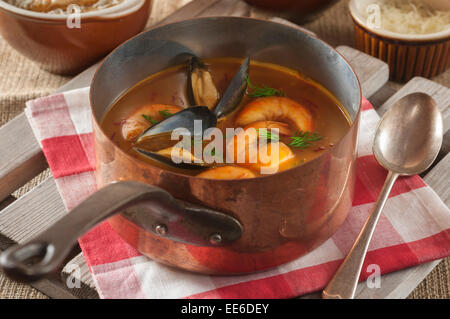Soupe de poisson. French fish soup. - Stock Photo