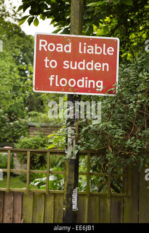 UK, London, Twickenham, riverside, Road Liable to Sudden Flooding, sign - Stock Photo