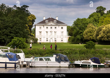 UK, London, Twickenham, Marble Hill House, from the River Thames - Stock Photo