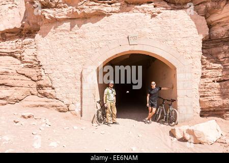 A tunnel through the mountain in San Pedro de Atacama, Chile, South America - Stock Photo