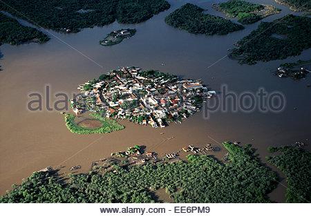 Aerial view of Mexcaltitan island - Stock Photo