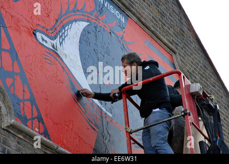 Shepard Fairey american graffiti artist US london n22 haringey mural - Stock Photo