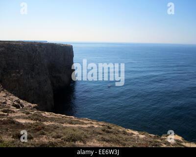 Cape St. Vincent (Portuguese: Cabo de São Vicente) algarve portugal end of the world - Stock Photo