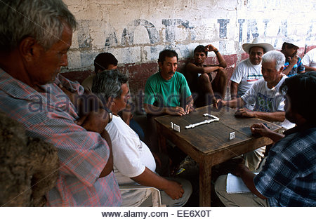 Mexcaltitan, Men playing dominos in one of the streets of the village - Stock Photo