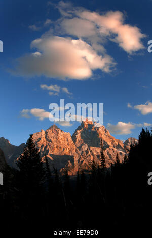 Grand Teton in Cascade Canyon at evening with sunset light - Stock Photo