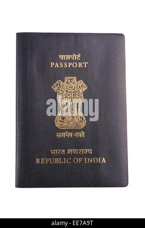 Close-up of an Indian passport isolated - Stock Photo