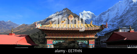 Tengboche Buddhist Monastery, Tengboche village, Everest Base Camp trek, UNESCO World Heritage Site, Sagarmatha - Stock Photo