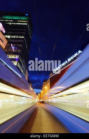 Zagreb night, tram in main street Ilica. - Stock Photo