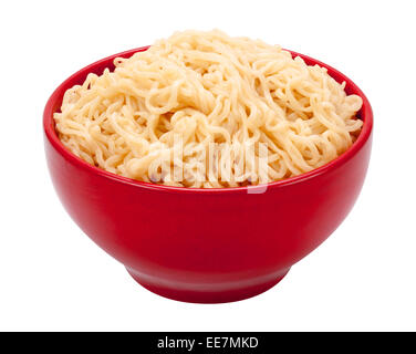 Ramen Noodles in a Red Bowl. Isolated on white, the image is in full focus, front to back. - Stock Photo