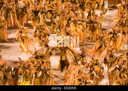 Rio de Janeiro, Brazil, 15th February 2010 - Samba school presentation at sambodromo in carnival 2010. - Stock Photo
