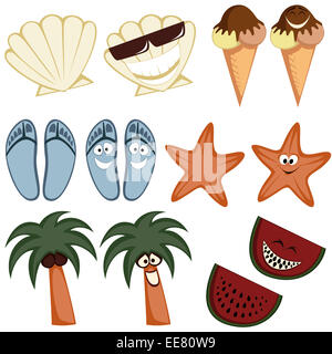 Classic summer icons - Collection of colorful cute summertime character icons (emoticons) with a simple and cartoon - Stock Photo