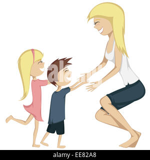 Hug Your Mom! Colorful and detailed cartoon-style art with a blonde girl and a brown haired boy are running towards - Stock Photo