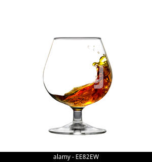 Square shot of cognac moving inside a glass isolated on white - Stock Photo