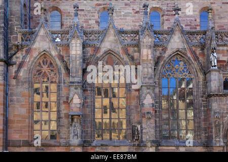 Windows in Saint Sebaldus church of Nuremberg, Germany - Stock Photo