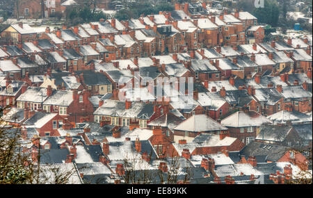 Snowy covered rooftops in Nottingham, Nottinghamshire England UK - Stock Photo
