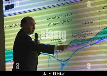 14 January 2015 -- Suez Canal, Egypt -- Suez Canal Authority Chairman Mohab Mameesh detailing the earthmoving and - Stock Photo
