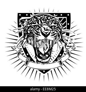 jaguar illustration on the shield - Stock Photo