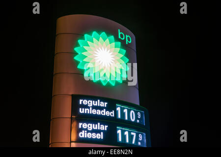 Prices at a BP petrol station - Stock Photo