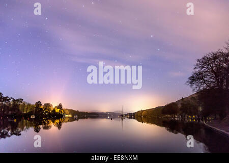 The night star skies over Windermere including the star constellation 'The Plough' - Stock Photo