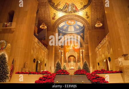 Interior architecture of The Basilica of the National Shrine of the Immaculate Conception in Washington DC, United - Stock Photo