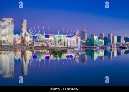 BC Place Stadium and Yaletown condos,  False Creek,  Vancouver, British Columbia, Canada, - Stock Photo