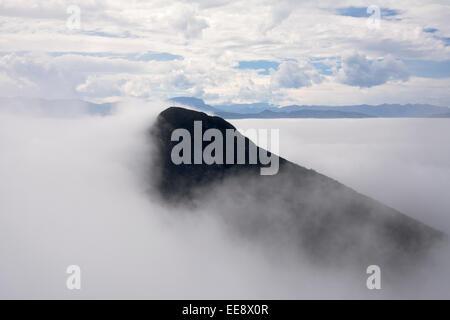 El Pico Norte or The North Peak of The Cerro de La Silla above Monterrey Mexico. - Stock Photo