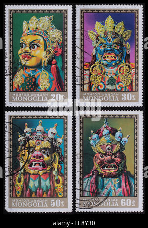 Mongolia - circa 1971: A post stamp printed in the Mongolian shows image of Mask, series Mask, circa 1971. - Stock Photo