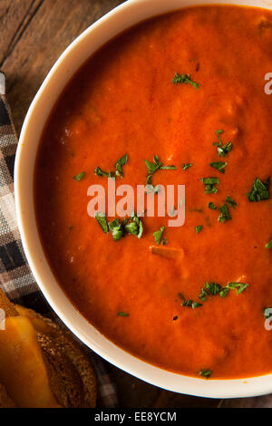 Homemade Tomato Soup with Grilled Cheese for Lunch - Stock Photo