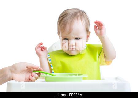 baby child refusing to eat - Stock Photo