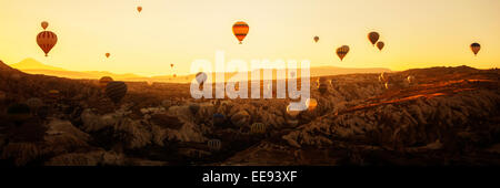 Hot air balloons floating in air - Stock Photo