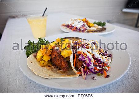 """World Famous"" Fish Tacos and Mango Margarita from Whoa Nellie Deli at Tioga Gas Mart, Lee Vining, California - Stock Photo"