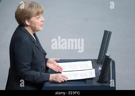 Berlin, Germany. 15th Jan, 2015. Chancellor Angela Merkel speaks at the Bundestag in Berlin, Germany, 15 January - Stock Photo