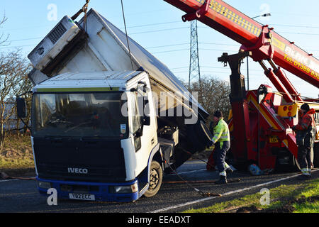 Wingate, County Durham, UK. 15th January 2015. UK Weather. Strong winds blow over a wagon causing the A188 road - Stock Photo