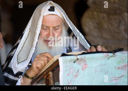 JERUSALEM, ISRAEL - OCT 06, 2014: An old jewish man is reading in the torah near the wailing wall in Jerusalem - Stock Photo