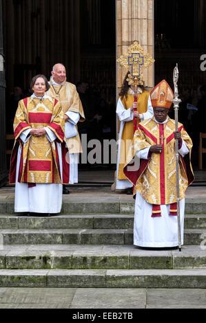 Archbishop John Sentamu leads Christmas day prayers on the steps of York Minster - Stock Photo
