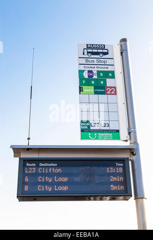 Electronic realtime display at a bus stop, Nottinghamshire, England, UK - Stock Photo
