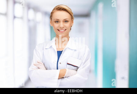 attractive female doctor in hospital - Stock Photo