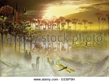 A carboniferous forest with mist rising above the waters. - Stock Photo