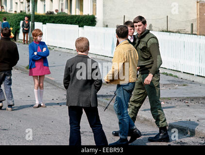 BELFAST, NORTHERN IRELAND - JUNE 1972. British Army Soldier in West Belfast Street during The Troubles, Northern - Stock Photo