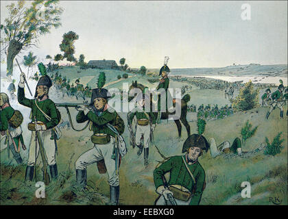 Colonel York protects General Bluecher crossing the Elbe at Altenzaun on the ferry at Sandau on 16 October 1806; - Stock Photo